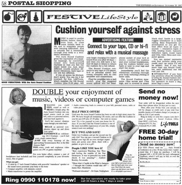 Aura Sound Cushion Daily Express ad