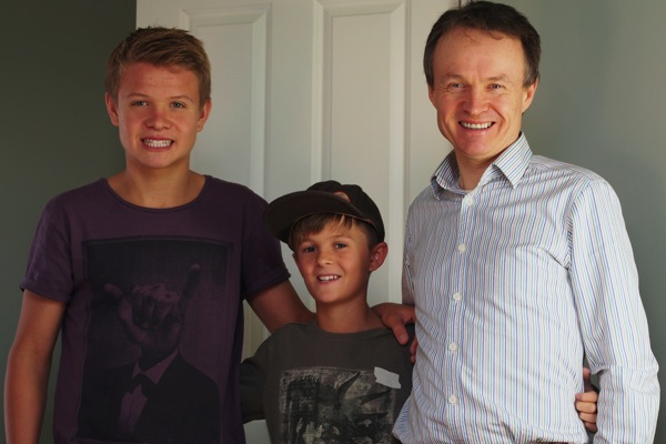 Christopher John Payne with Toby and Felix at Easter 2013